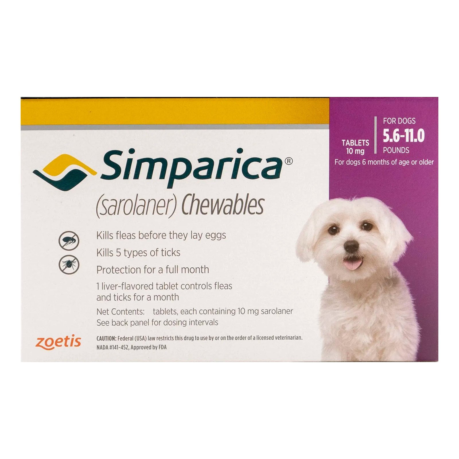 Simparica Chewables for Dogs 5.6-11 lbs (Purple)